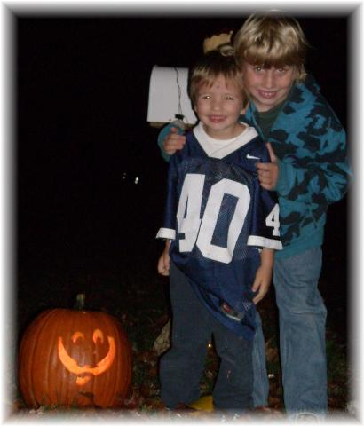 """Peezer"" and ""Boss"" with a jack o'lantern"