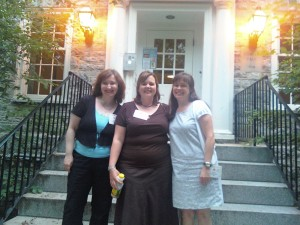 Deb, Michele and Becki on the front steps of Drayer Hall