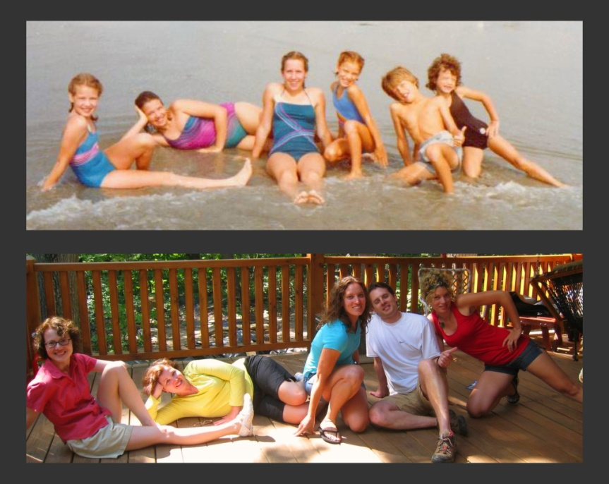 L to R: Betsy, Meg, Carrie (family friend in top photo), Susan, Mark, Sandy