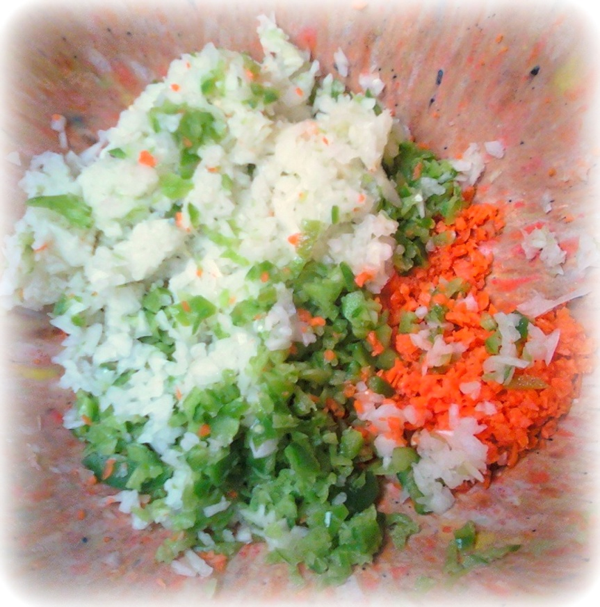Chopped green pepper, onion, and carrot