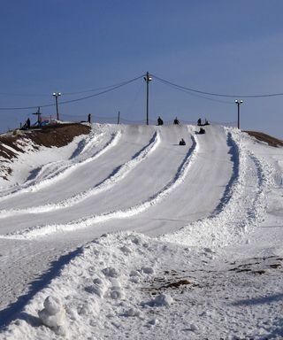 The tubing hill. Why no pictures of actual skiing, you ask? Because Soup doesn't ski, that's why.