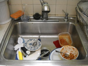 Only my dishes in the sink